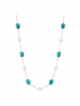 Subtle necklace with Turquoise Gemstone & Cultured Pearl