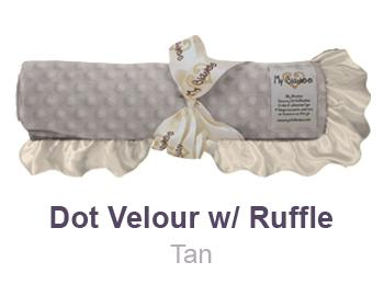 Tan Dot Velour with Ruffle Trim Blanket by My Blankee