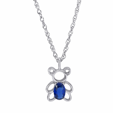 Teddy Bear Birthstone Pendant Necklace
