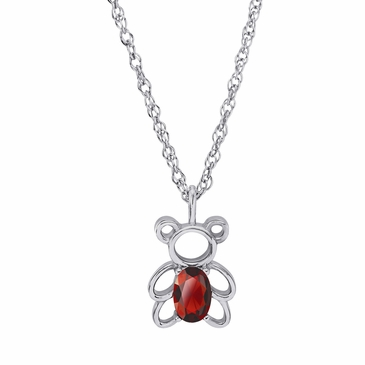 Teddy Bear July Birthstone Pendant Necklace