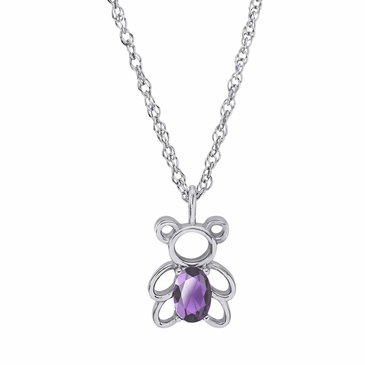 Teddy Bear June Birthstone Pendant Necklace