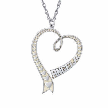 Textured Heart Personalized Pendant Necklace