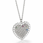 """The Heart of the Family"" Birthstone Necklace - Personalized"