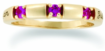 Birthstone Gold Ring Personalized with Genuine Stones