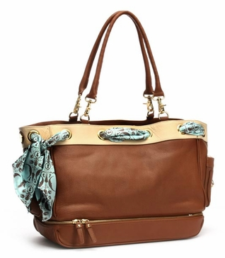 Toffee/Ivory Grommet Diaper Bag by Nest