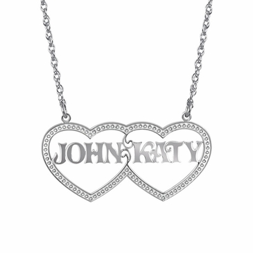 """Together Forever"" Couples Name and Heart Necklace"