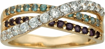 Triple Birthstone Crossover Band Gold Ring - with Genuine Stones