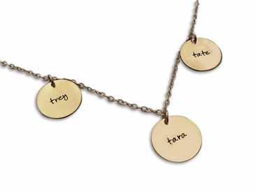 Triple Charms Name Necklace in Gold