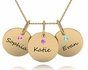 Triple Chic Birthstone Name Necklace - click to Enlarge