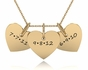 Triple Heart Name Charm Necklace - click to Enlarge