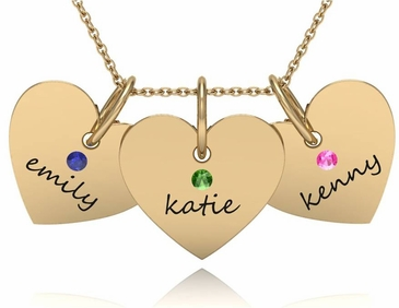 Triple Heart Name Charm Necklace