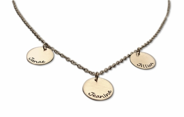 Triple Tiny Charms Name Necklace in Sterling Silver
