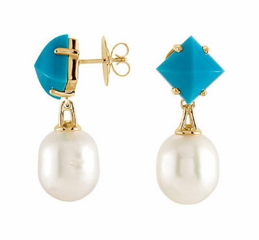Turquoise and Sea Cultured Pearl Earrings