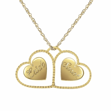 Twin Hearts Personalized Necklace