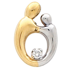 Two-tone Mother and Child Diamond Pendant