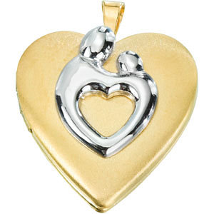 Two-tone Satin Mother and Child Heart-shaped Locket