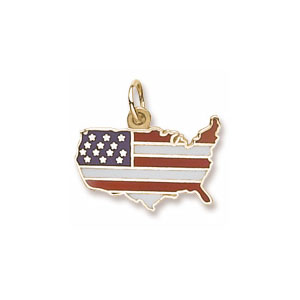 USA Colored Map  Charm by Forever Charms - Personalized