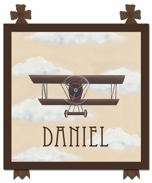 Vintage Plane II Stretched Art Personalized by Dish and Spoon