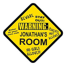 Warning Sign Personalized Kids Wall Plaque