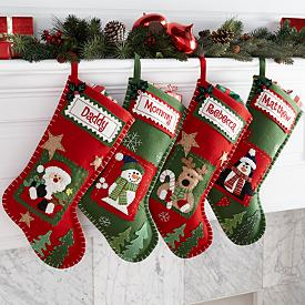 Whip-stitched Patchwork Christmas Stockings - Personalized