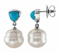 White and Turquoise Pearl Earrings - click to Enlarge