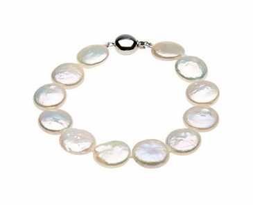 White Coin Pearl Necklace or Bracelet