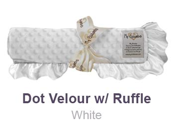 White Dot Velour with Ruffle Trim Blanket by My Blankee