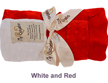 White Red Dot Velour Two Tone Blanket by My Blankee