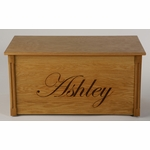 Wooden Toy Chest w/ Elegant Script  (Personalized)