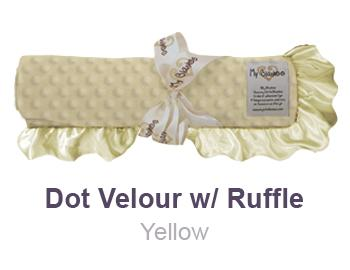 Yellow Dot Velour with Ruffle Trim Blanket by My Blankee