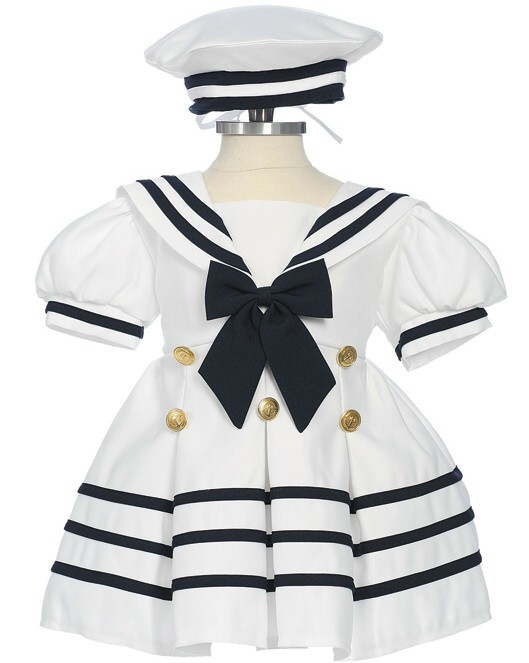 Baby and infant girl nautical dress white sailor dress with hat