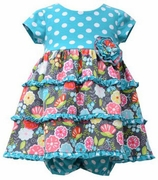 Bonnie Jean Girls Aqua Polka Dot Dress with Tiered Skirt