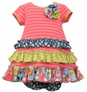 Bonnie Jean Girls Coral Stripe Dress with Ruching and Bloomers