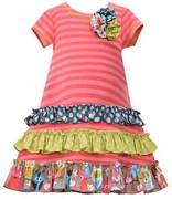 Bonnie Jean Girls Coral Stripe Dress with Ruching