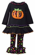 Bonnie Jean Girls Pumpkin Dress and Polka Dot Legging Set
