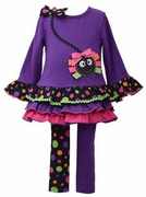 Bonnie Jean Girls Purple Spider  Dress and Halloween Legging Set