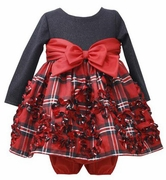 Bonnie Jean Girls Sparkle Plaid Dress with Bloomers