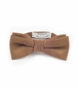 Boys Adustable Size Chestnut Suede Bow Tie