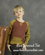 Boys Heathered Rib Pullover � Brick & Mustard