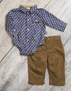 Boys Moose Print Bodysuit, Chestnut Pant