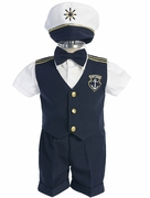 Boys Navy Captain Short Set with Hat