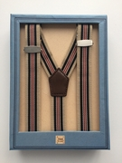 Boys Navy/ Red/Khaki Stripe Suspenders with Clips