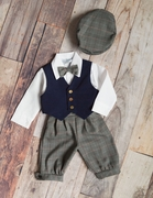 Boys Navy Vest and Plaid Knicker Set - Holiday Plaid