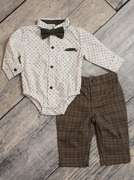 Boys Paisley Bodysuit, Plaid Pant and Suede Bow Tie Set