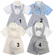 Boys Special Occasion Seersucker Stripe Suspender Short Set with Bow Tie and Hat