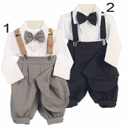 Boys Special Occasion Checker Suspender Knicker Set with Bow Tie and Hat