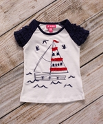 CR Kids Girls Ruffle Raglan Sleeve Sailboat Tee