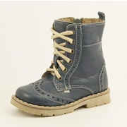 Emel Blue Leather Lace Up Brogue Boots