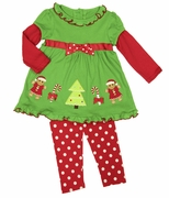 Good Lad Girls Gingerbread Girl Christmas Legging Set