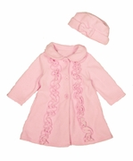 Good Lad Girls Fleece Coat with Hat - Pink Ruffle